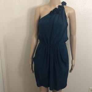 Rebecca Taylor 100% Silk One Floral Shoulder Dress